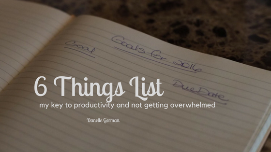 My 6 Things Lists